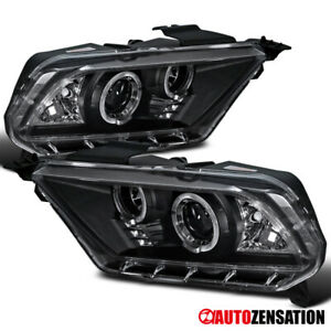 10 14 Ford Mustang Black Led Drl Dual Halo Projector Headlights