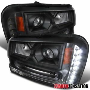 For 2002 2009 Chevy Trailblazer Black Projector Headlights Led Drl Strip