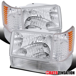 1993 1996 Jeep Grand Cherokee Crystal Headlight bumper Corner Light W Reflector