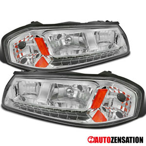 For 2000 2005 Chevy Impala Led Drl Clear Headlights Lamps Left Right Pair Amber
