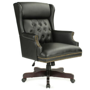 New Wingback Executive Office Chair W Thick Padded Headrest Mahogany Wood Base