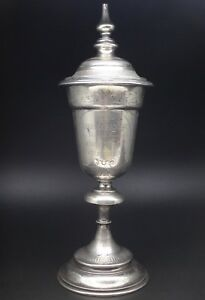 Large Antique Austrian Sterling Silver Kiddush Cup Cover Wedding Chalice