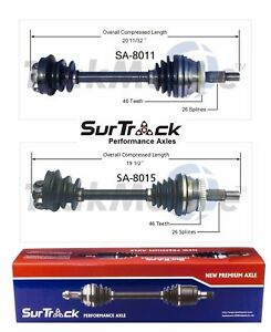 For Saab 9000 Fwd Turbocharged 2 Front Cv Axle Shafts Surtrack Set Std transm