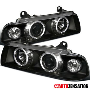 92 98 Bmw E36 3 series 2dr 4dr Halo Projector Headlights Black