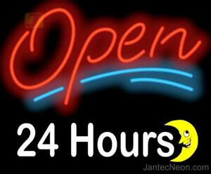 Open 24 Hours Neon Sign Gas Station Retail Dinner Cafe Coffee Shop Jantec