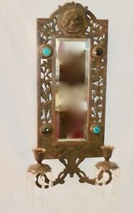 Antique Brass Over Cast Iron 2 Candle Mirror Jewel Wall Sconce 16 Prisms 1875