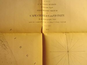 Antique Vintage 1853 Map Nautical Chart Of Cape Charles And Vicinity Va