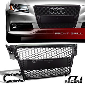 For 2009 2012 Audi A4 B8 Black Honeycomb Mesh Front Hood Bumper Grille Guard Abs