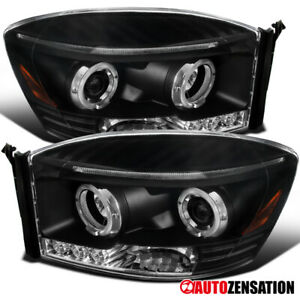 For 2006 2009 Dodge Ram 1500 2500 3500 Black Clear Led Halo Projector Headlights