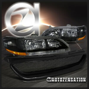 For 98 02 Honda Accord 2dr Coupe Black Headlights Abs Type Mesh Hood Grille R