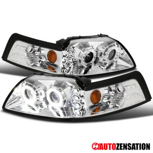 1999 2004 Ford Mustang Dual Halo led Projector Headlights Head Lamps Pair