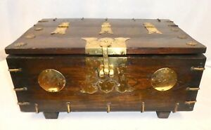 Antique Korean Ton Kwe Elmwood Brass Chest Hinged Top Rosettes Medallions 1850
