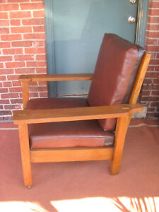 Mission Oak Stickley Brothers Large Arm Chair Leather 703 Original