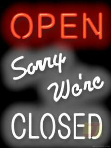 Open Sorry We re Closed Neon Sign Business Restaurant 15x20 Jantec Usa Free Ship