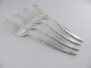 4 Forks Lace Point Lunt Sterling Silver Flatware 7 1 2 No Monogram