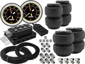 Suspension Manifold Valve W 9 Switch Controller Air Bags Gauges Hoses Fittings