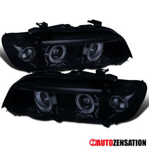 For 2001 2003 Bmw E53 X5 Glossy Black Smoke Led Halo Projector Headlights Lamps