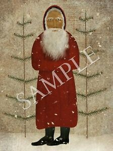 Primitive Christmas Santa Claus Belsnickle Folk Art Feather Tree Print 8x10