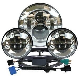 7 Led Headlight passing Lights Ring Mount For Harley Touring Silver