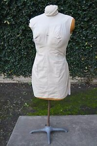Vintage Form Fabric Sewing Foam Dress Stand Display W Industrial Metal Base Rare