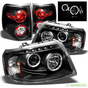 For 03 06 Expedition Black Halo Pro Headlights Altezza Style Tail Lights Set