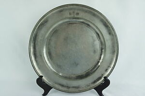 Antique Pewter Plate Charger 19th C Marked 10 1 2 English Y8 W7 A8