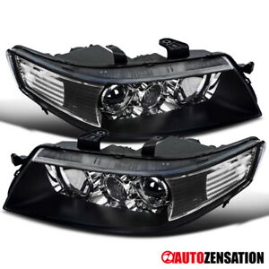For 2004 2005 Acura Tsx Black Projector Headlights Lamps Pair Left right