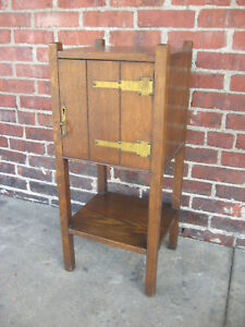 Antique Mission Oak Smoking Cabinet Smoker Vice Stand Table Arts
