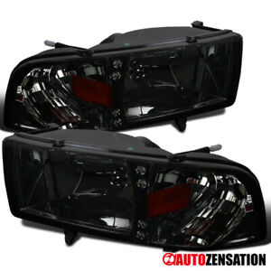 For 1994 2001 Dodge Ram 1500 2500 3500 Led Drl Smoke Lens Headlights Lamps Pair