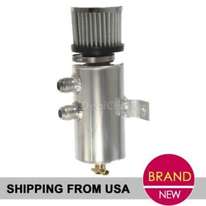 0 75l Aluminum Oil Catch Can W Chrome Breather Filter 10an Front Ports Bracket