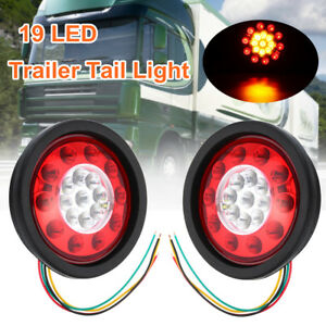 2x 4 3 12 24v Round 19 Led Truck Trailer Lorry Brake Stop Turn Tail Light Ring