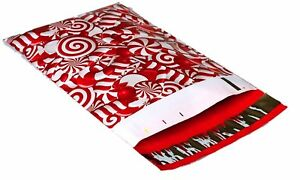 1000 6x9 Candy Cane Designer Mailers Poly Shipping Envelopes Boutique Bags
