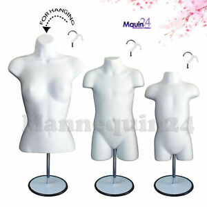 3 Mannequins female Child Toddler Body Forms In White 3 Stands 3 Hangers