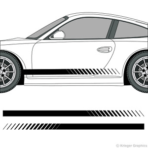 Porsche 718 Or 911 Faded Rocker Panel Racing Stripes 3m Vinyl Decal Kit