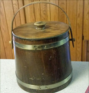 Vintage 7 T X 8 Diam Wood Firkin Sugar Bucket Metal Bands Swivel Handle