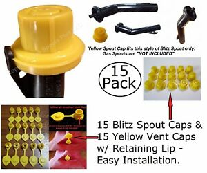 30pcs Total New Combo Pk 15 Blitz Yellow Spout Caps 15 Yellow Gas Can Vent Caps