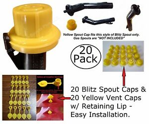 40pcs Total New Combo Pk 20 Blitz Yellow Spout Caps 20 Yellow Gas Can Vent Caps