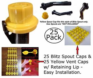 50pcs Total New Combo Pk 25 Blitz Yellow Spout Caps 25 Yellow Gas Can Vent Caps