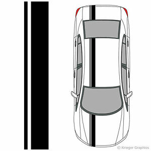 Single Offset Rally Racing Stripes 3m Vinyl Decals For Honda Civic Accord Crz