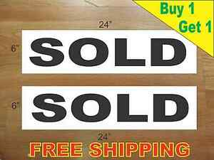 Sold Black 6 x24 Real Estate Rider Signs Buy 1 Get 1 Free 2 Sided Plastic