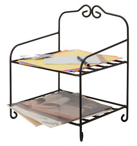 Table Top Organizer Wrought Iron Desk Counter 2 Shelf Storage Rack Amish Usa