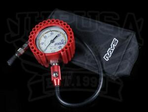 Rays Tire Pressure Air Gauge 75 Psi With Carrying Case Red New Universal