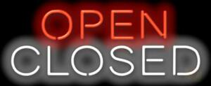 Open Closed Neon Sign Business Restaurant Retail Store Front 32x13 Jantec