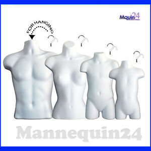 Male Female Child Toddler Torso Mannequin Set 4 Hanging Body Forms W hangers