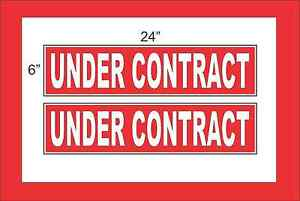White On Red Under Contract 6 x24 Real Estate Rider Signs Buy 1 Get 1 Free