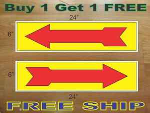 Arrow Yellow Red 6 x24 Real Estate Rider Signs Buy 1 Get 1 Free