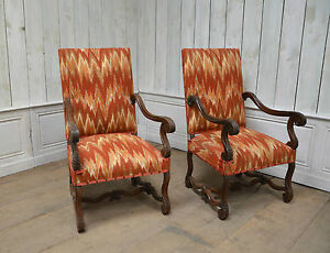 2201076 Pair Of Antique French Renaissance Carved High Back Arm Chairs