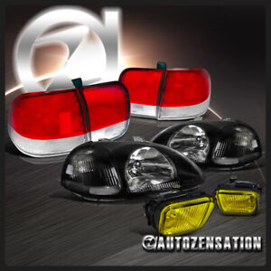 For 96 98 Honda Civic 4dr Black Lights Yellow Fog Lamps Red Clear Tail Lights