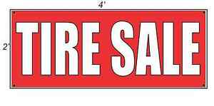 2x4 Tire Sale Red With White Copy Banner Sign New