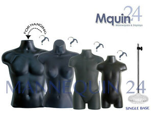Male Female Child Toddler Torso Mannequin Forms Black 1 Stand 4 Hangers